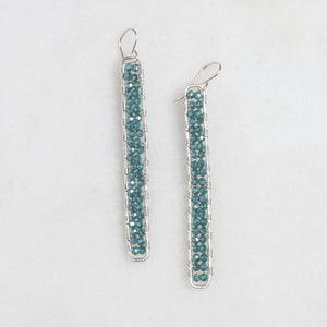 silver stick earrings in dusty teal green