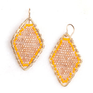 gold diamond shape + citrine, medium