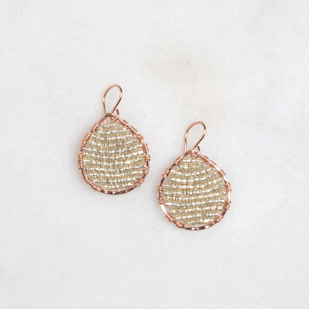 rose gold teardrops + silver seed beads, small
