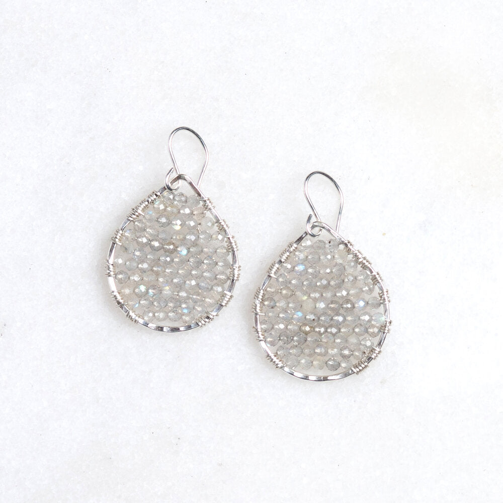 sterling silver + labradorite teardrops, small