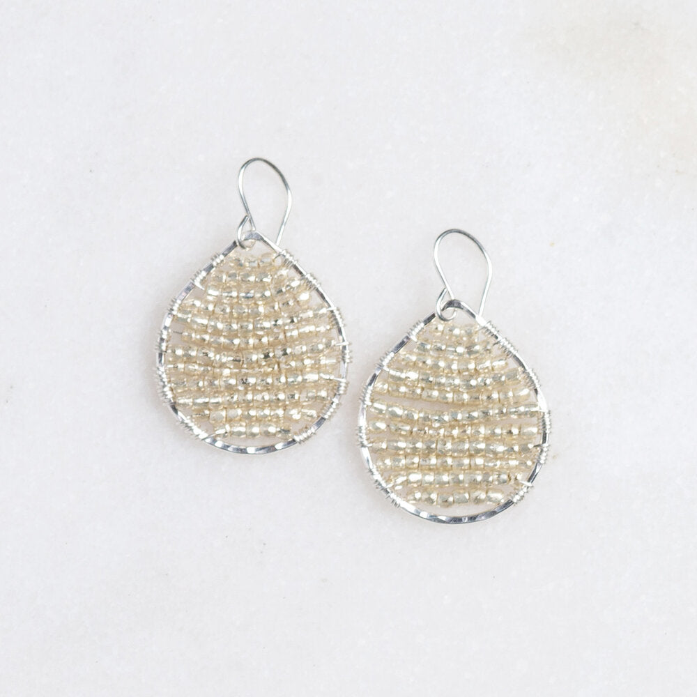 sterling silver teardrops + silver seed beads, small