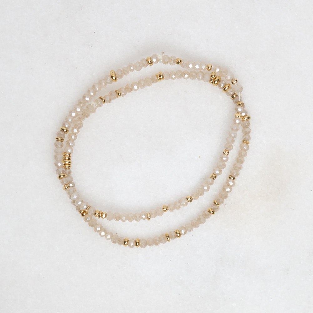Load image into Gallery viewer, gold + crystal stretch bracelet in seasalt
