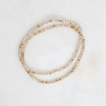 gold + crystal stretch bracelet in seasalt