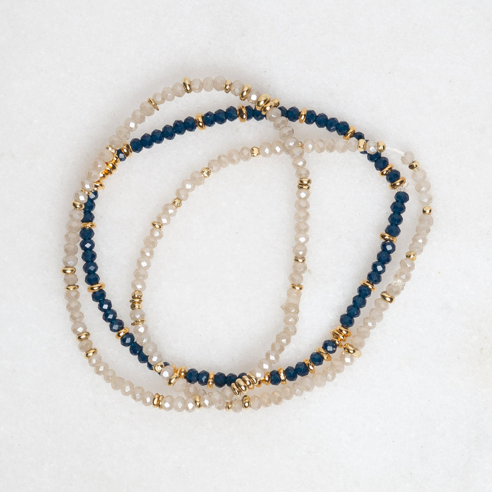 Load image into Gallery viewer, gold + crystal stretch bracelets in navy/black