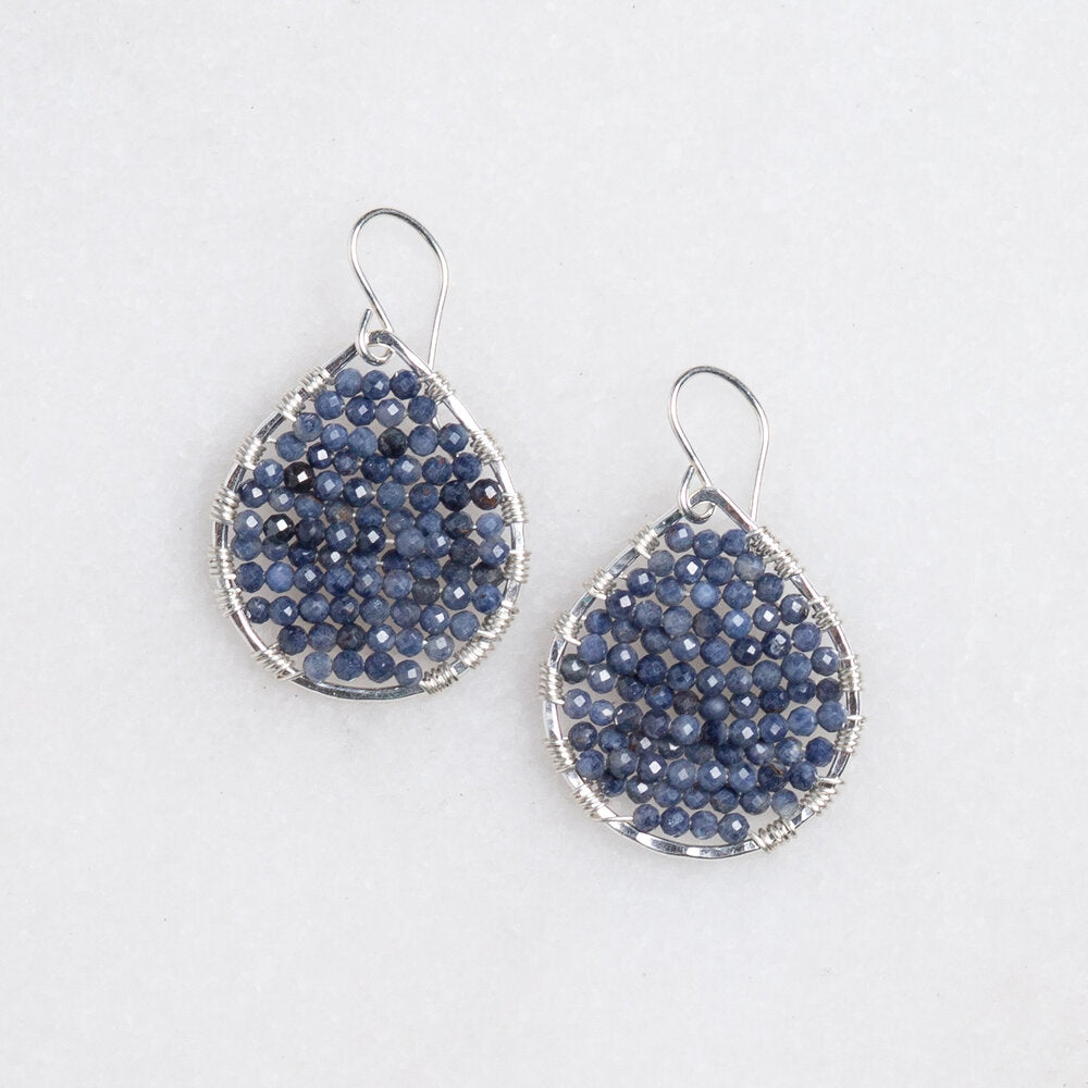 Load image into Gallery viewer, silver teardrop w/sapphires, small