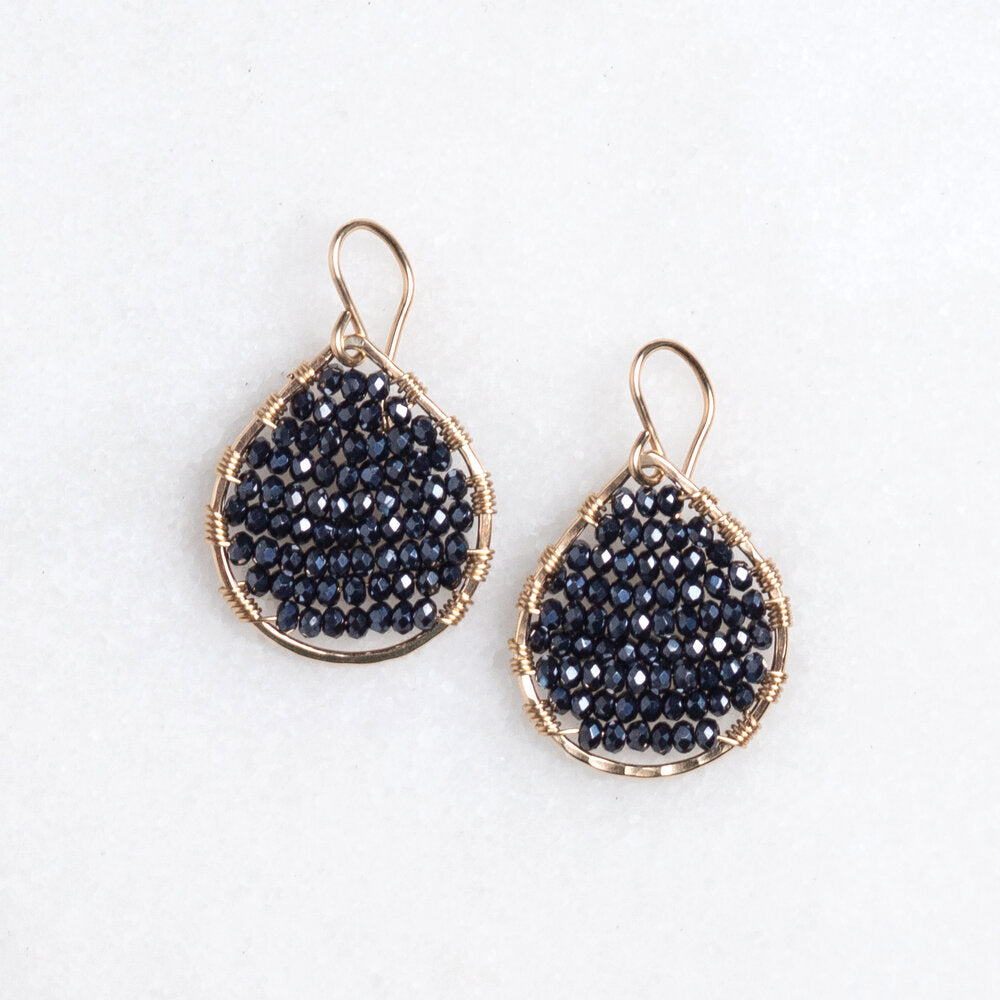 Load image into Gallery viewer, gold teardrops + navy/black stones, small