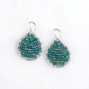 sterling silver teardrops + teal green, small