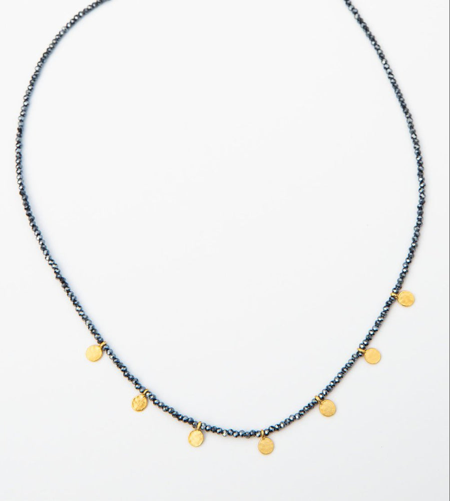 midnight crystal & gold disk necklace