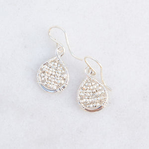 silver beaded loop earrings, small