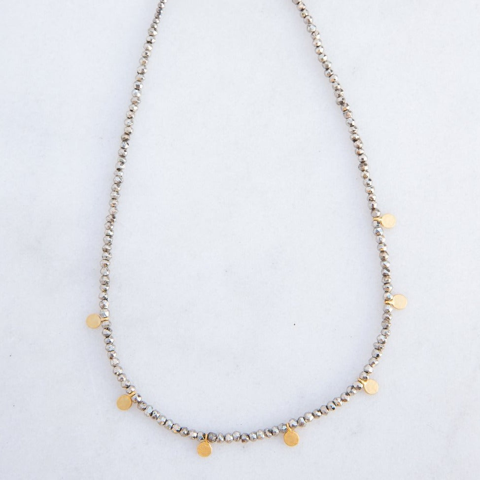 silver pyrite + gold disk necklace