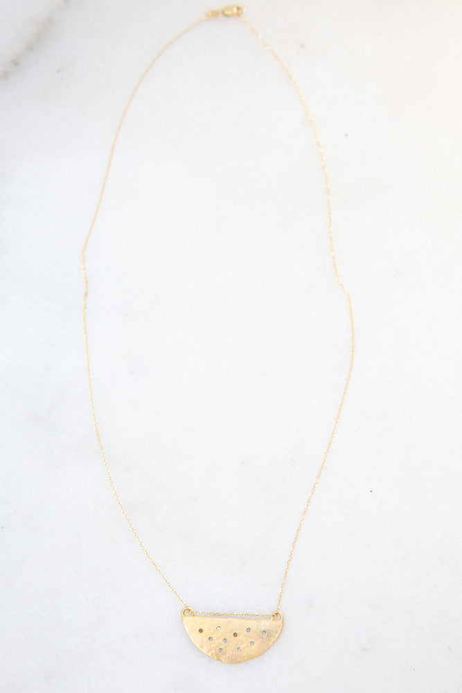 Load image into Gallery viewer, 14k gold + diamond half moon necklace