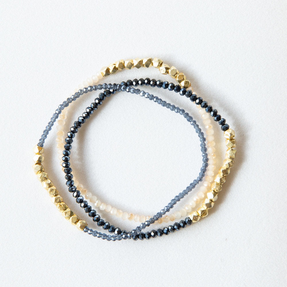 Load image into Gallery viewer, gold nugget + midnight crystal bracelet