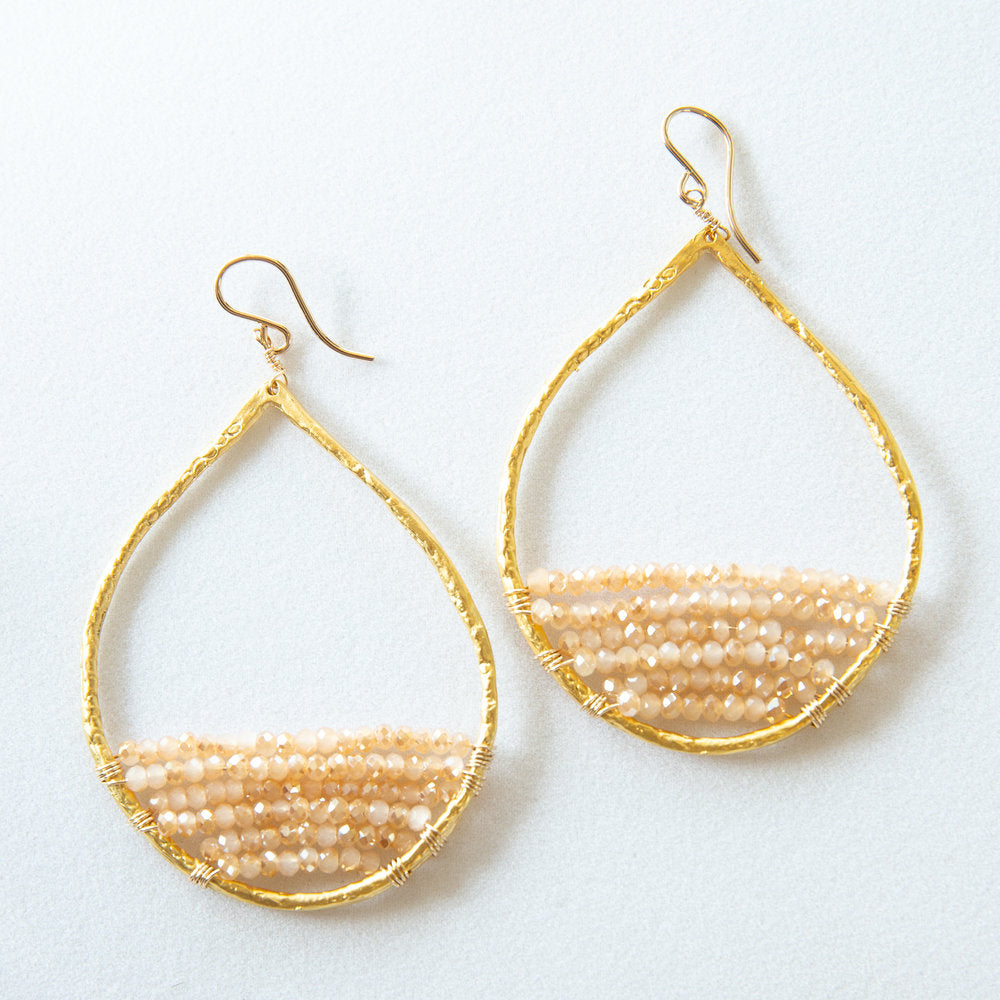 gold teardrops in blush, large