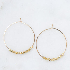 gold hoops with nugget beads, large
