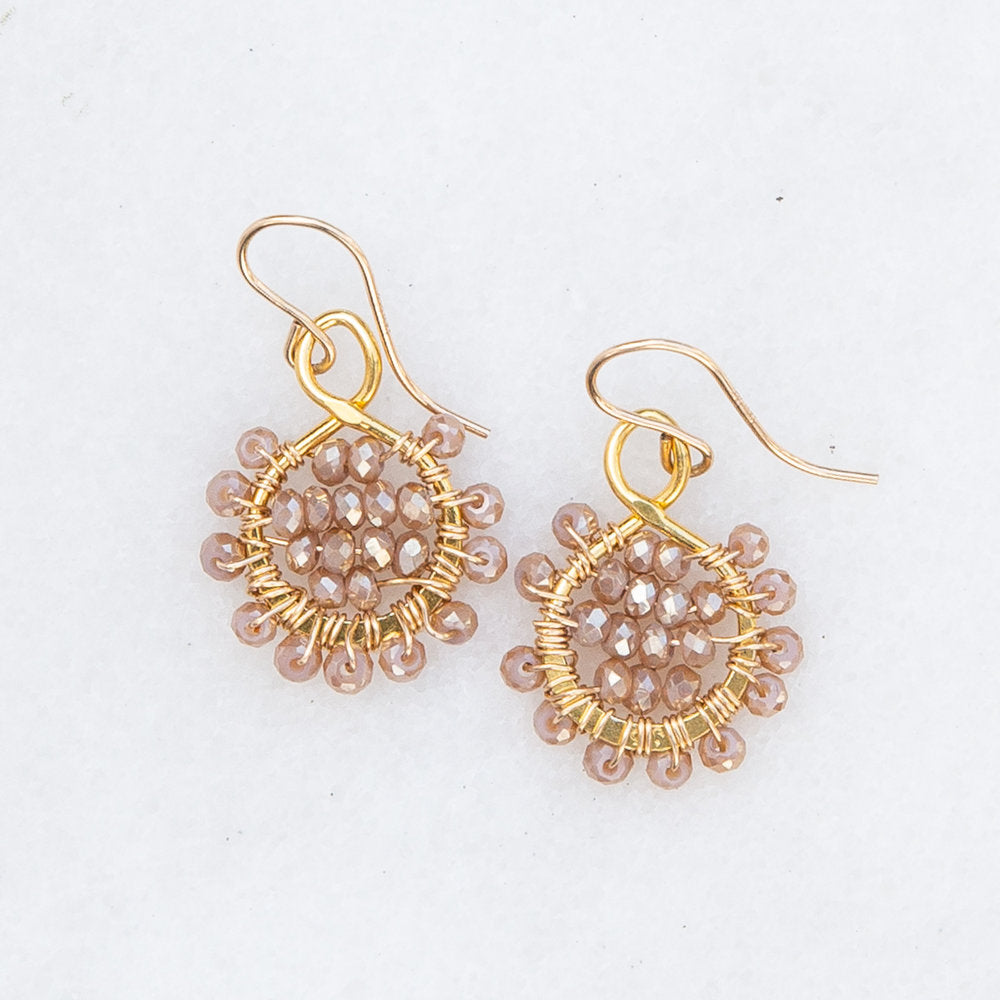 Load image into Gallery viewer, gold flower in rosewood earrings