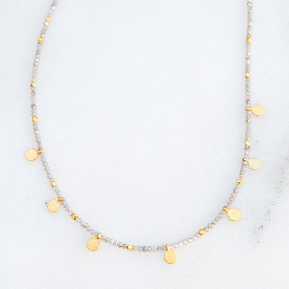 faceted labradorite + gold disk necklace