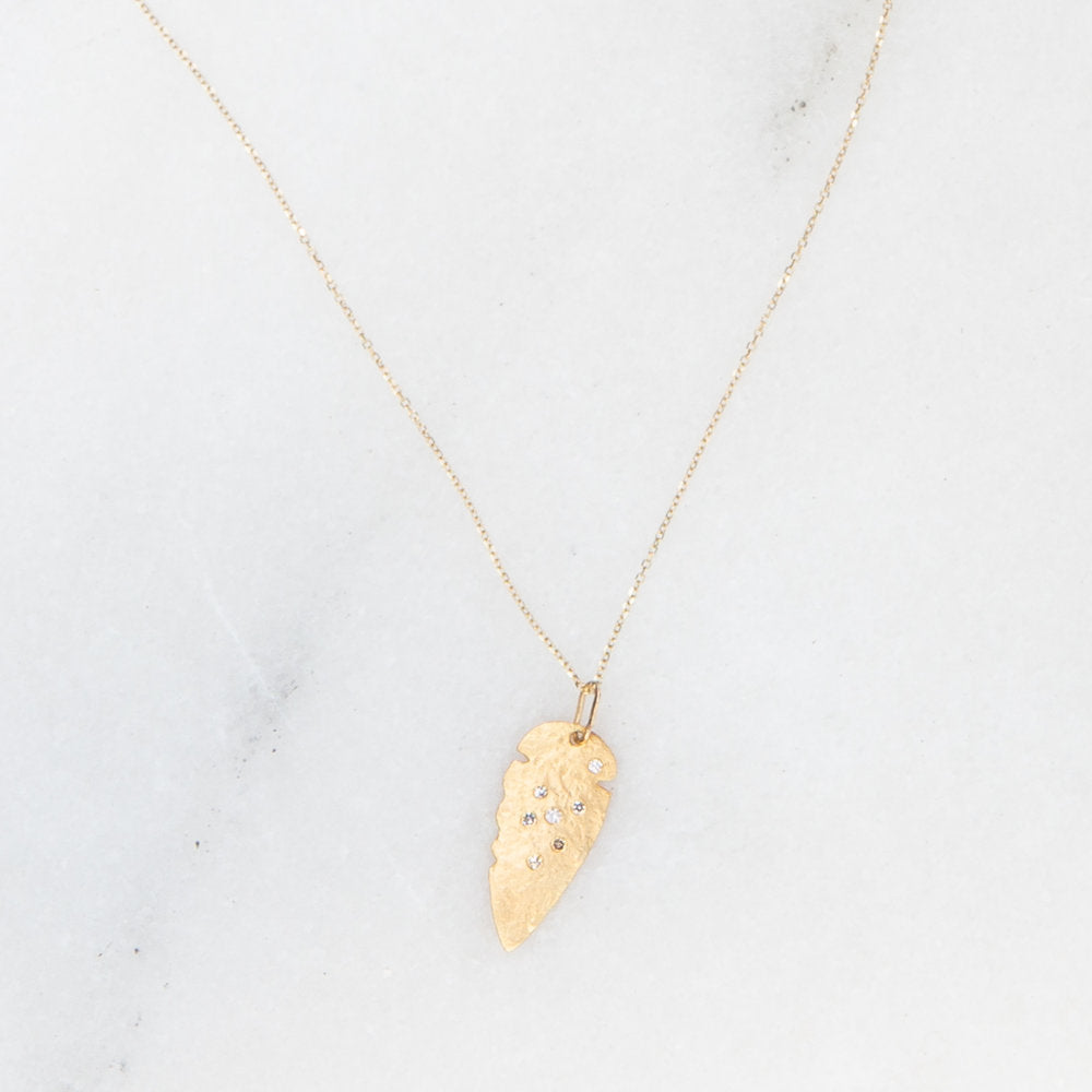 14k gold + diamond leaf necklace, medium
