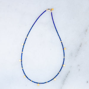 faceted lapis +  gold disk necklace