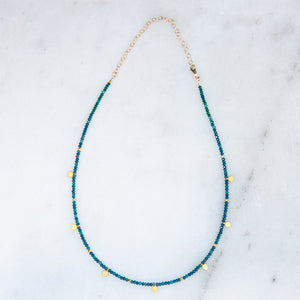 faceted appatite + gold disk necklace