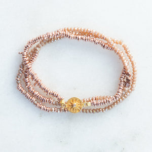 rose gold + rosewood crystal stretch bracelet