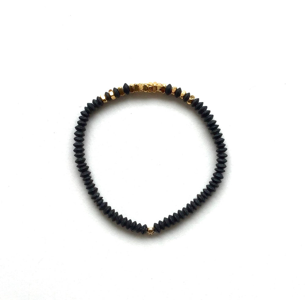 gold + black obsidan stretch bracelet