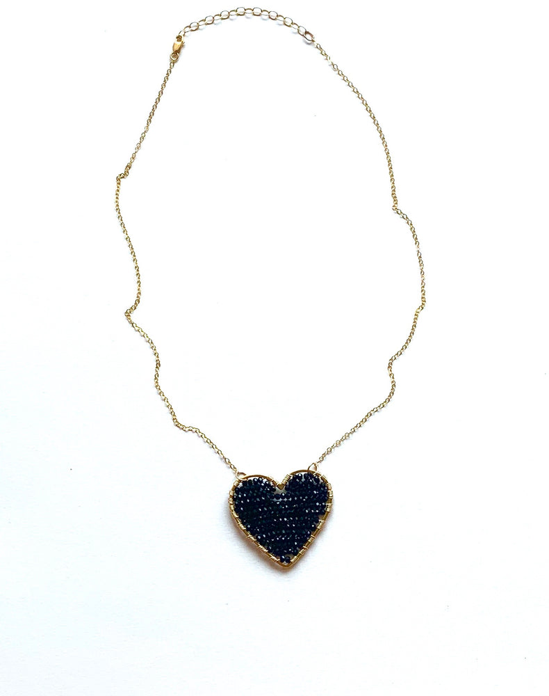 CG + CH Black Hearts Necklace in gold