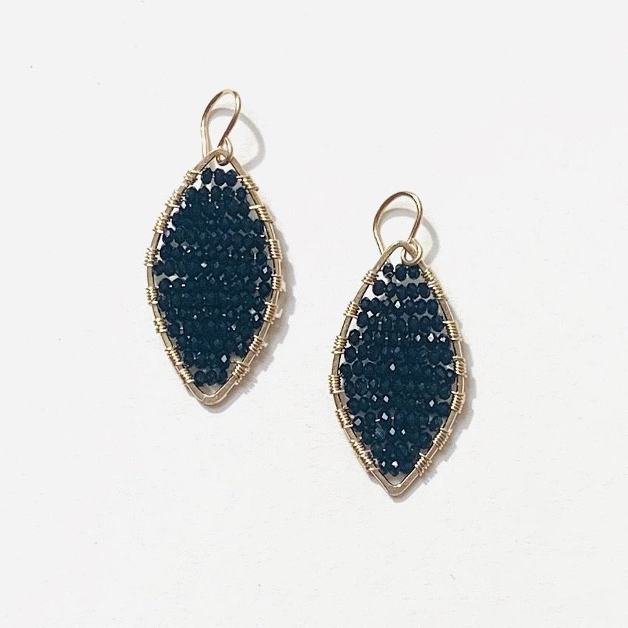 Load image into Gallery viewer, gold marquis earrings in jet black