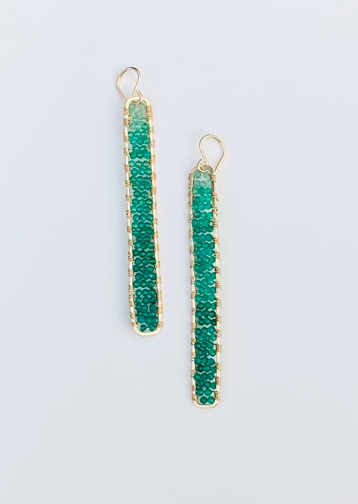 gold stick earrings in green onyx