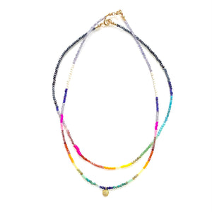Spectrum necklace w/pave diamond pendant in gold