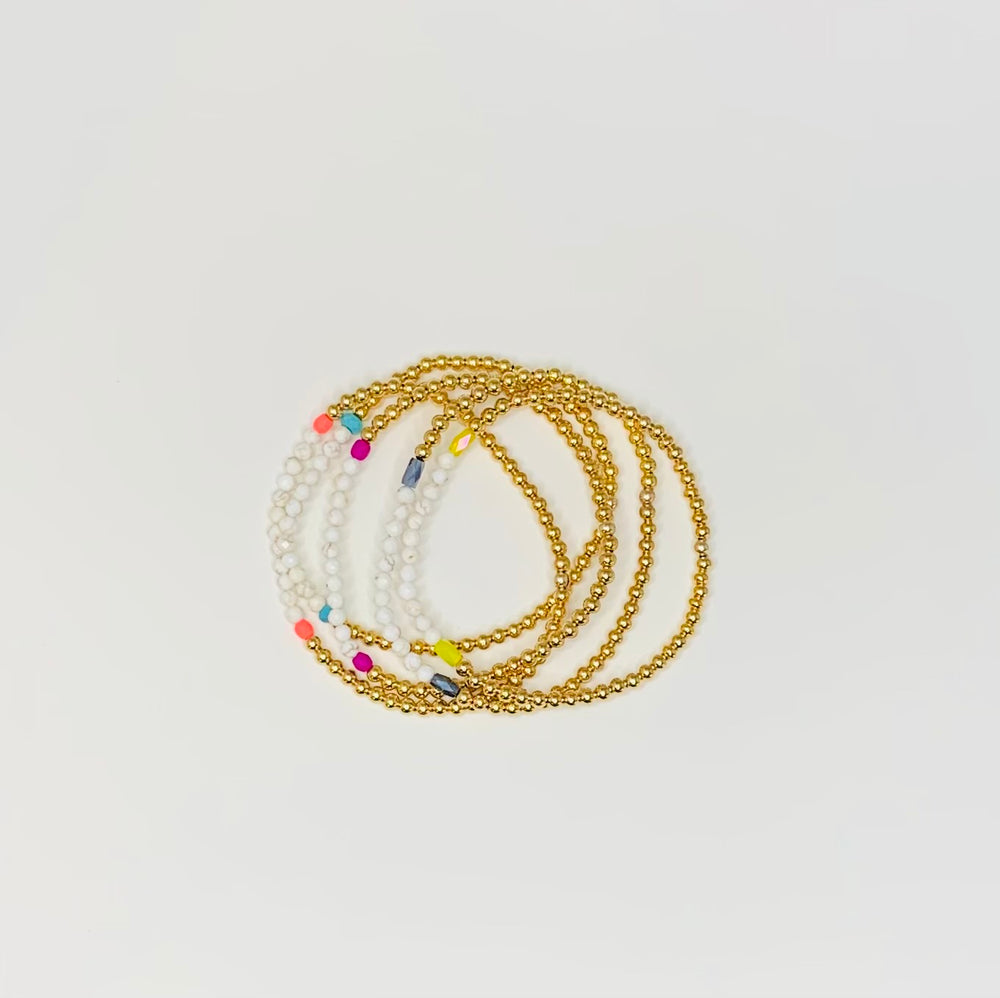 Pop color white turquoise + gold ball beaded bracelets