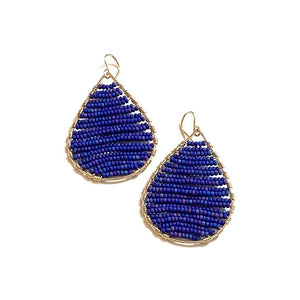 Gold teardrops w/lapis beads, medium