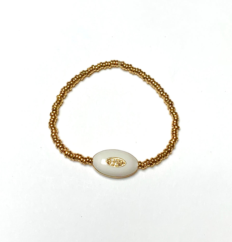 diamond, enamel + gold beaded bracelet