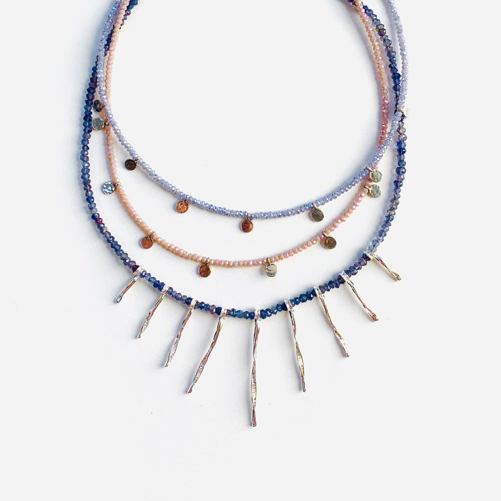 Silver hammered stick + iolite necklace