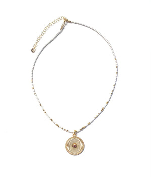 Load image into Gallery viewer, Ruby, enamel + pave diamond sunburst pendant necklace w/ ivory + white turquoise