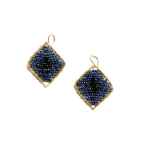 Load image into Gallery viewer, gold diamond shape earrings in navy/black