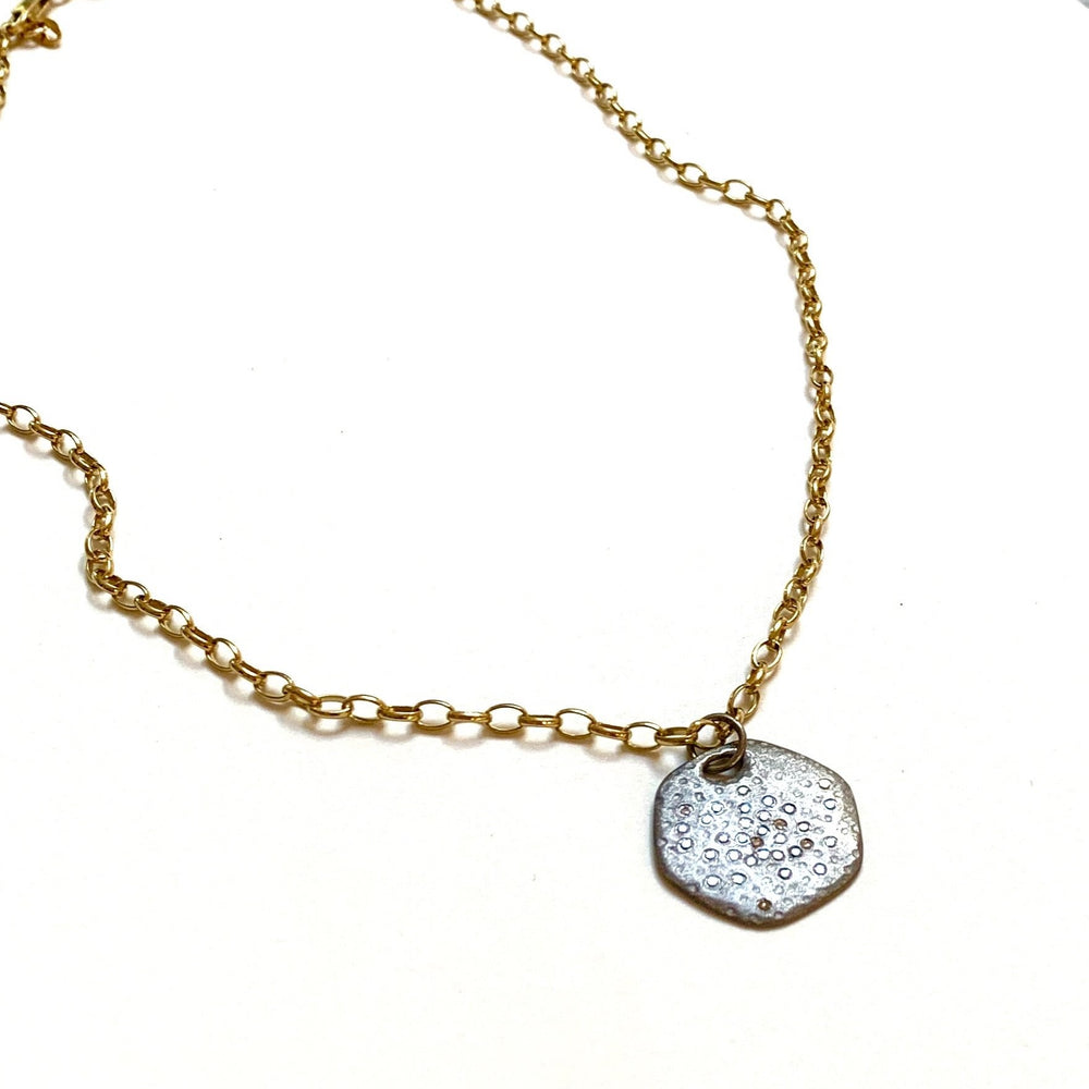 diamond hexagon silver pendant + gold chain