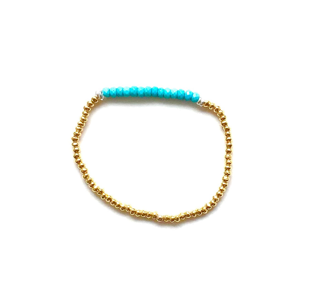gold + howlite crystal stretch bracelet