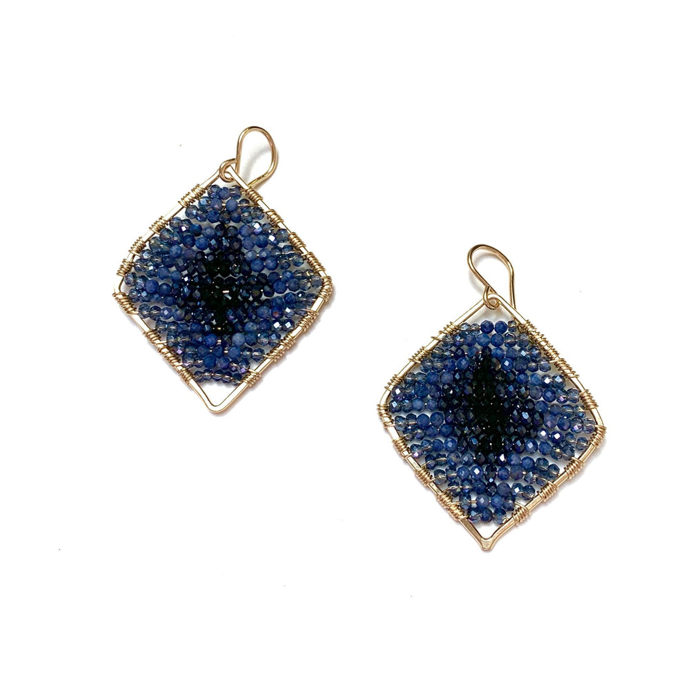 gold diamond shape earrings in navy/black