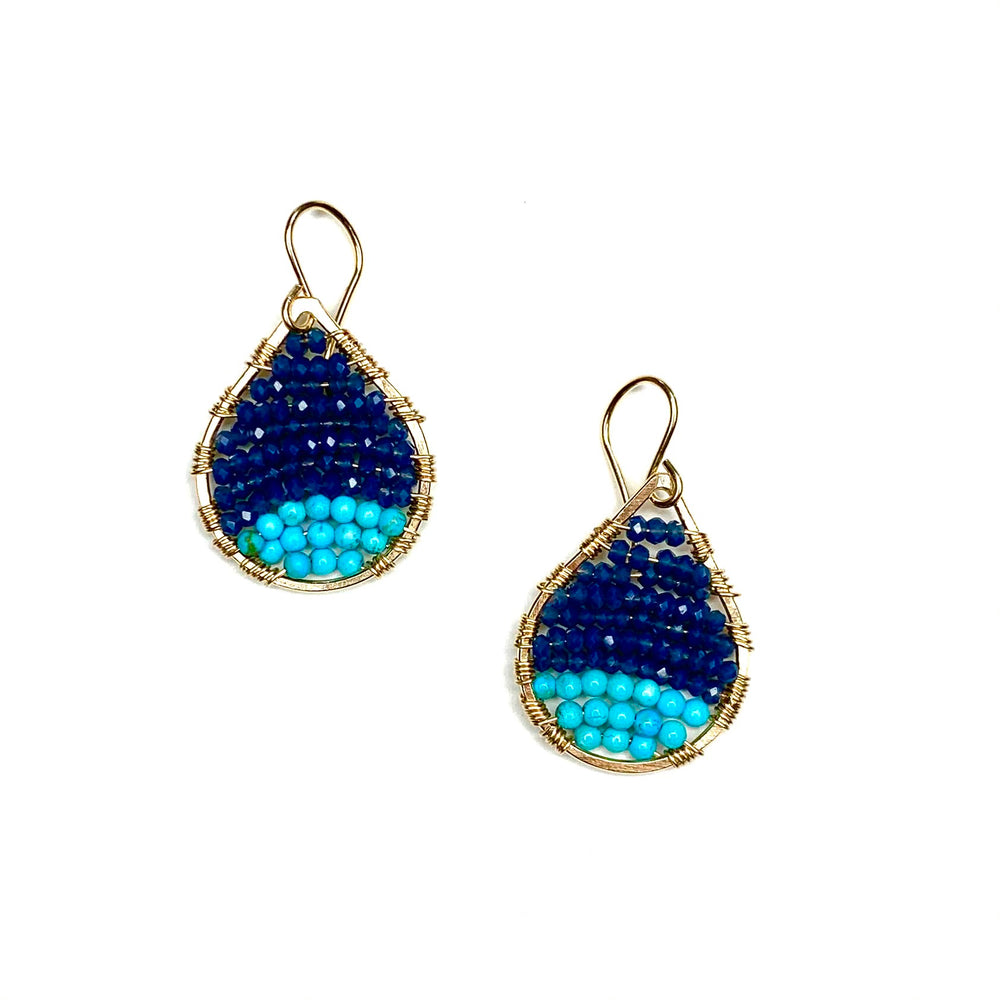 Gold teardrops in colorblock ocean blue + turquoise, small