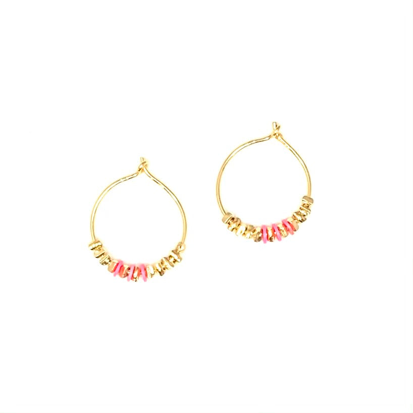 Gold nugget + hot pink hoops, small