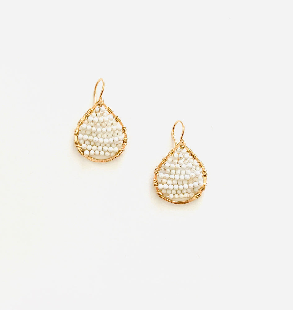 gold teardrops in white turquoise, small