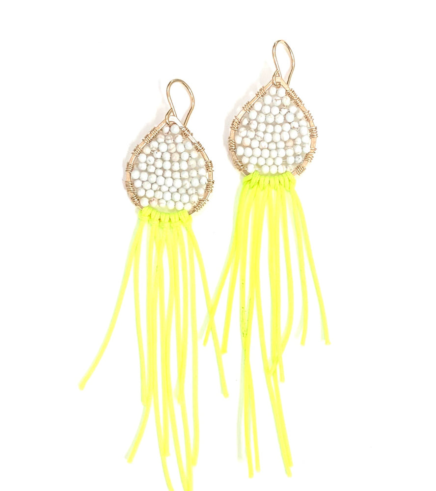 Gold teardrops, white turquoise + neon yellow earrings