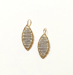 Load image into Gallery viewer, gold marquis earrings w/white sapphire, small