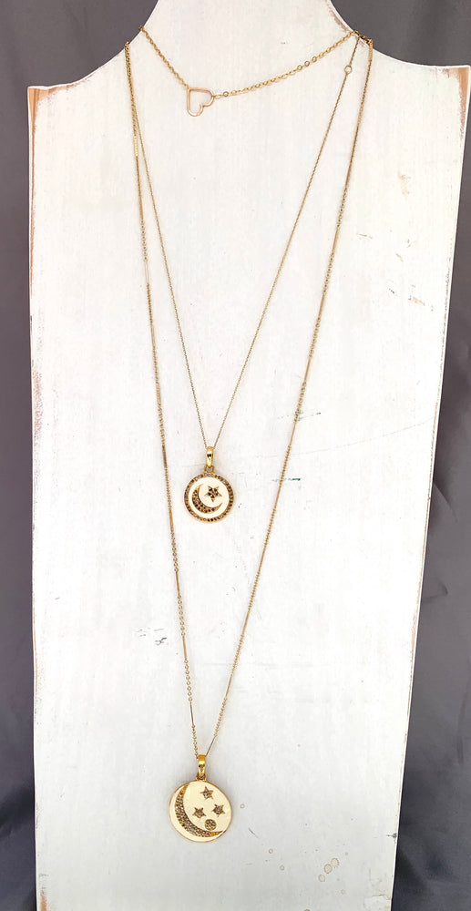 Load image into Gallery viewer, diamond, enamel , gold stars + moon necklace