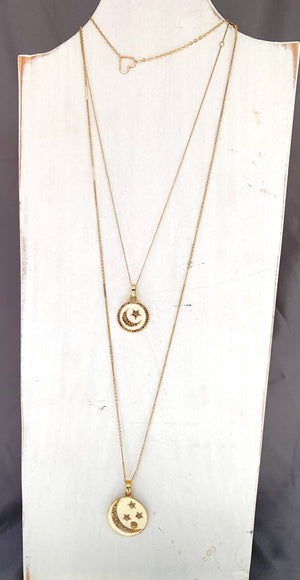 diamond, enamel , gold stars + moon necklace
