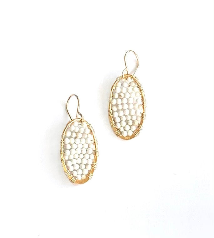 Gold ovals in white turquoise, small