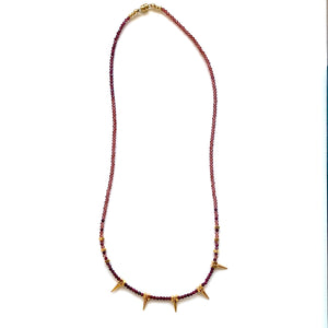 Load image into Gallery viewer, garnet, ruby + gold spike necklace