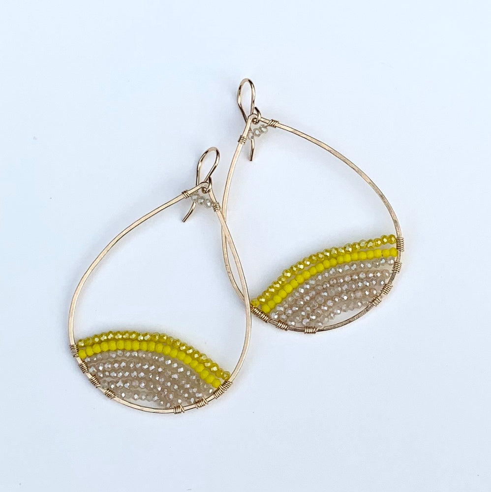 gold teardrops w/pop of yellow, large