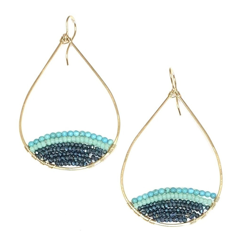 Turquoise ombré semi-beaded teardrops in gold, large