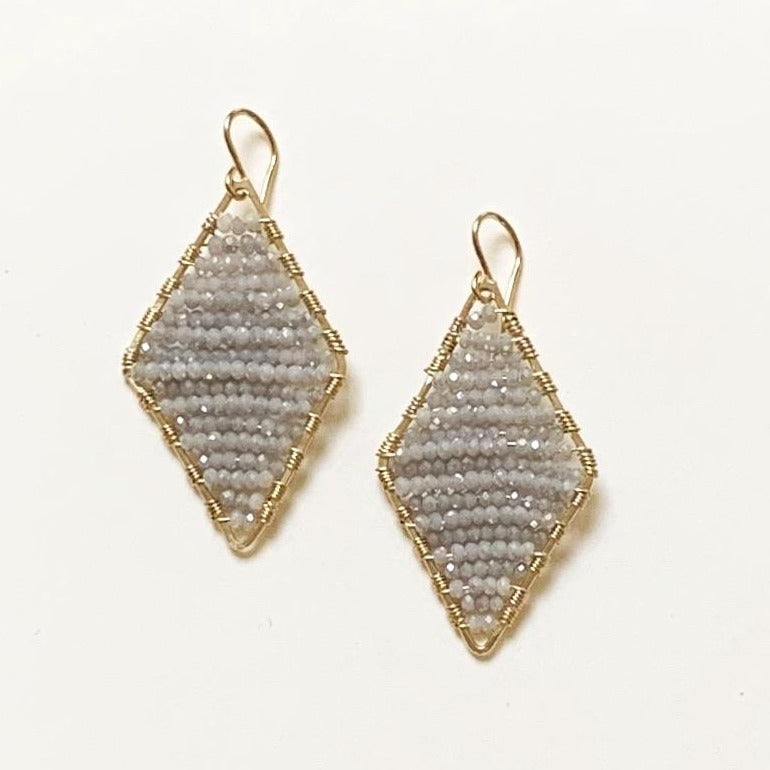 gold diamond shape + seasalt grey crystals, medium